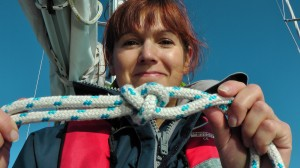Practicing knot tying for sailing