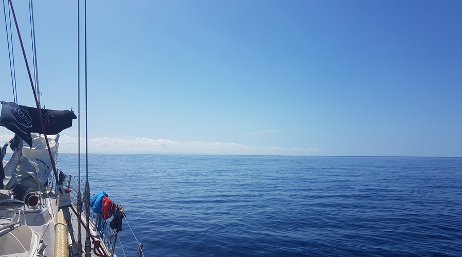 Flat seas and becalmed