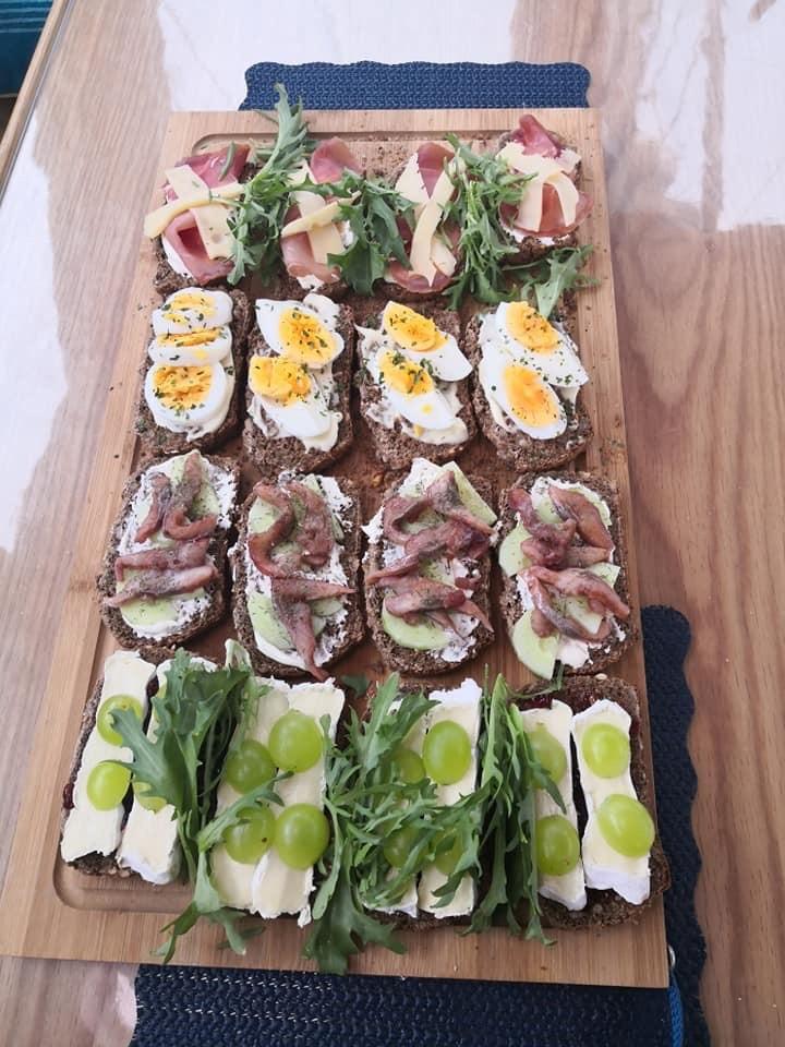 Boat baked rye bread sandwiches