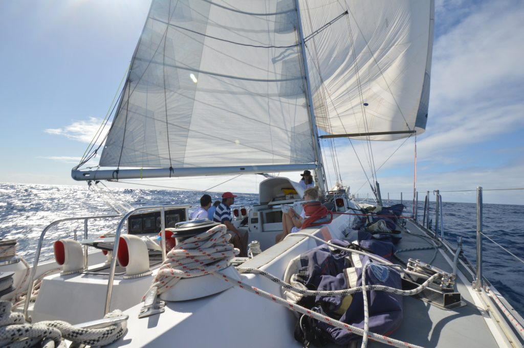 Sailing downwind with the spinnaker poled out